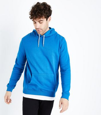 Blue Pocket Front Hoodie New Look