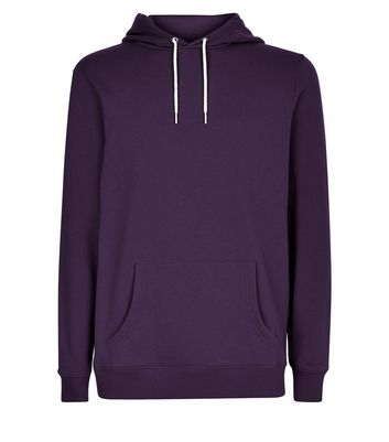 Dark Purple Pocket Front Hoodie New Look