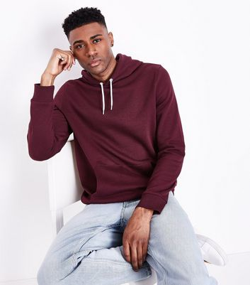 Burgundy Pocket Front Hoodie New Look