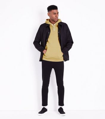 Yellow Pocket Front Hoodie New Look