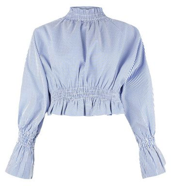 Pink Vanilla Blue Stripe Shirred Waist Top New Look