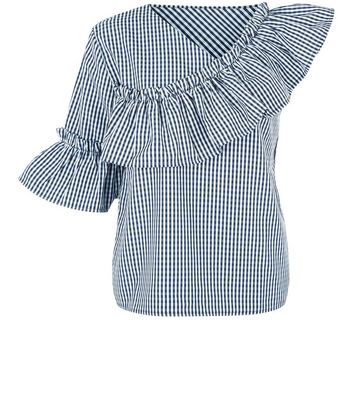 Pink Vanilla Navy Gingham Off the Shoulder Top New Look