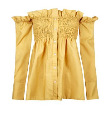 Pink Vanilla Yellow Bardot Neck Frill Trim Top New Look