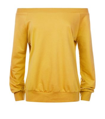 Yellow Bardot Neck Sweatshirt New Look