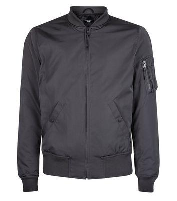 Grey Matte Bomber Jacket New Look
