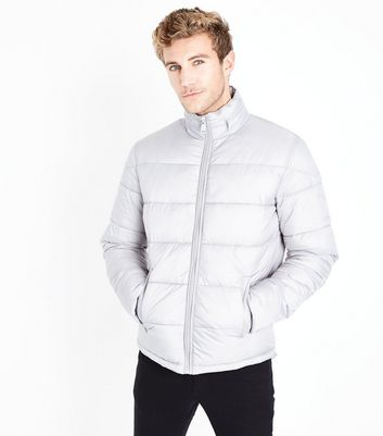 Pale Grey Puffer Jacket New Look