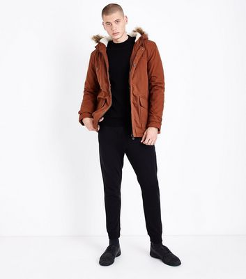 Rust Mid Cotton Parka Jacket New Look