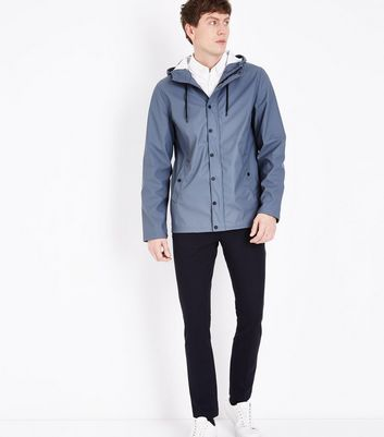 Dark Blue Rain Coat New Look