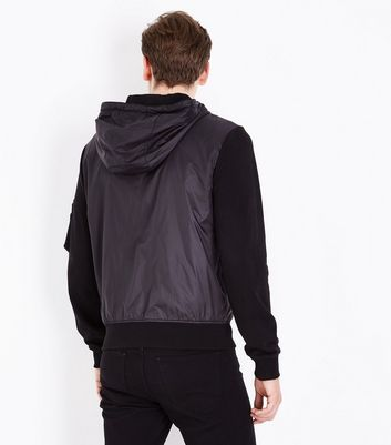 Black Jersey Nylon Mix Zip Through Hoodie New Look