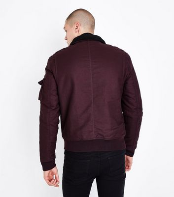 Burgundy Aviator Jacket New Look