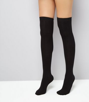 Black Over The Knee Ribbed Socks New Look