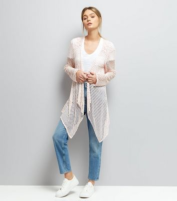 Mela Pink Crochet Waterfall Cardigan New Look