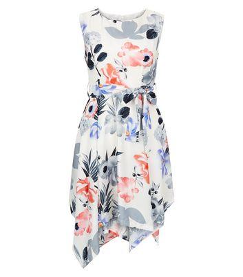 Mela White Floral Print Pointed Hem Dress New Look