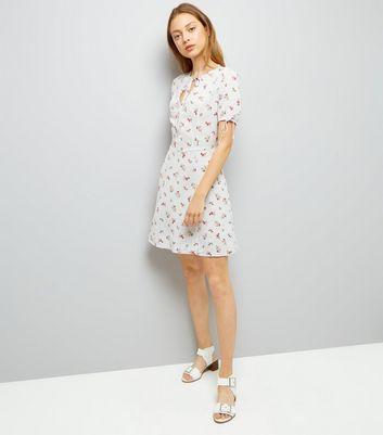 White Floral Print Tie Sleeve Tea Dress New Look