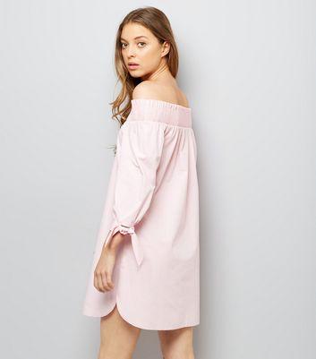 Pink Tie Sleeve Shirred Bardot Neck Dress New Look