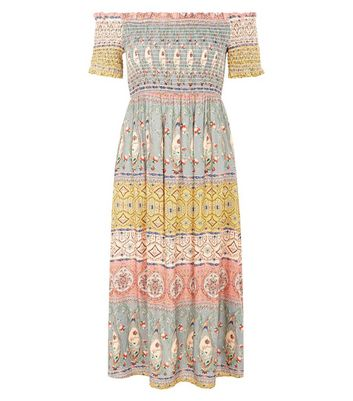 Multicoloured Stripe Shirred Bardot Midi Dress New Look