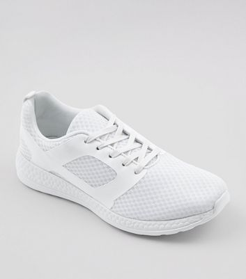 White Runner Lace Up Trainers New Look