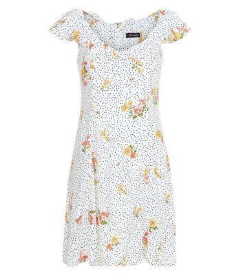 White Floral Spot Print Frill Bardot Neck Skater Dress New Look