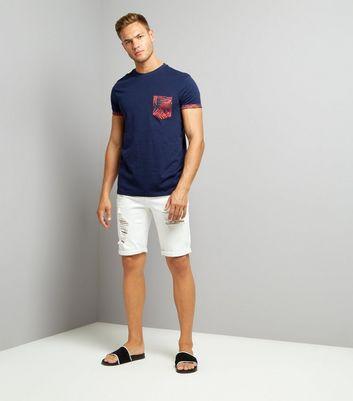 Navy Leaf Print Pocket T-Shirt New Look