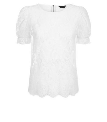 White Lace Scallop Hem Puff Sleeve Blouse New Look