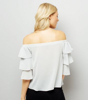 Pale Grey Tiered Sleeve Bardot Neck Top New Look