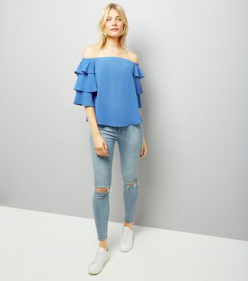 Blue Tiered Sleeve Bardot Neck Top New Look