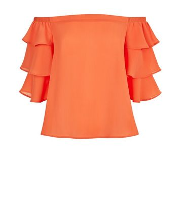 Orange Tiered Sleeve Bardot Neck Top New Look