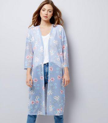 Blue Floral Print Mesh Kimono New Look