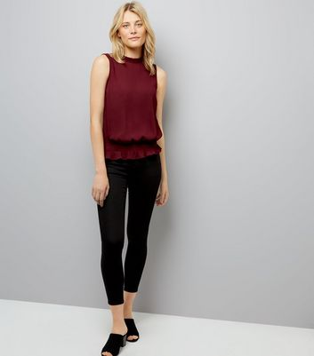 Burgundy Shirred Waist Blouse New Look