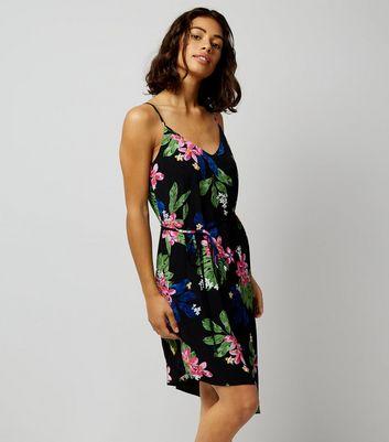 Petite Black Tropical Print Asymmetric Slip Dress New Look