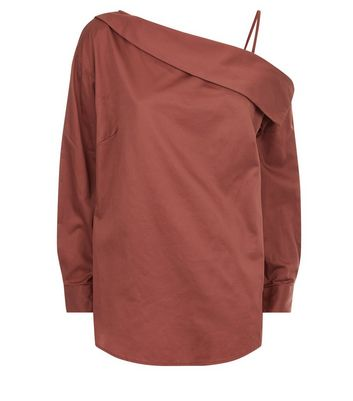Brown Off The Shoulder Shirt New Look