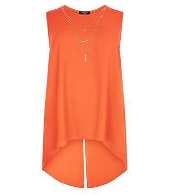 Curves Orange Necklace Detail Split Back Top New Look
