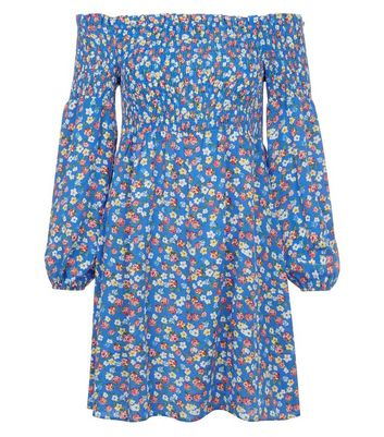 Blue Ditsy Print Shirred Bardot Skater Dress New Look
