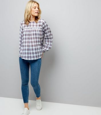 White Check Cut Out Long Sleeve Smock Top New Look