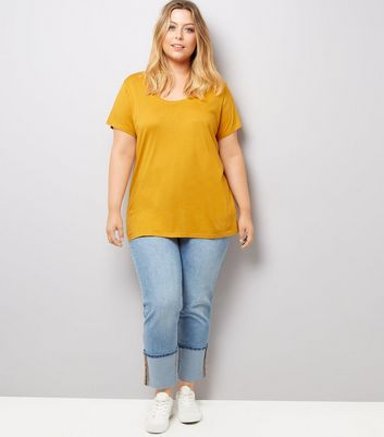 Curves Rust Scoop Neck T-Shirt New Look