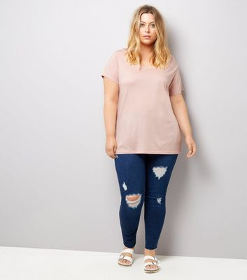 Curves Pink Scoop Neck T-Shirt New Look