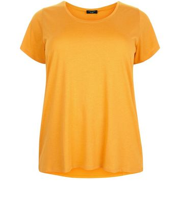 Curves Orange Scoop Neck T-Shirt New Look