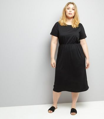 Curves Black Gathered Waist Jersey Dress New Look