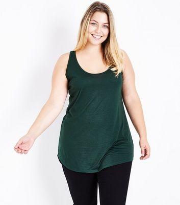 Curves Dark Green Scoop Neck Vest New Look