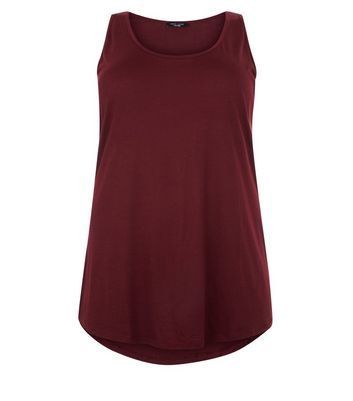 Curves Burgundy Scoop Neck Vest New Look