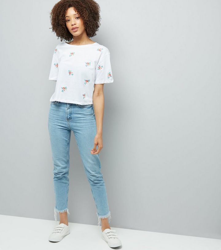 8db00e41 ... Tall White Floral Embroidered T-Shirt. ×. ×. ×. Shop the look
