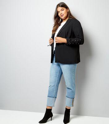 Curves Black Lattice Cuff Blazer New Look