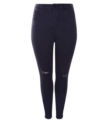 Curves Black Ripped Knee High Waist Skinny Jeans New Look