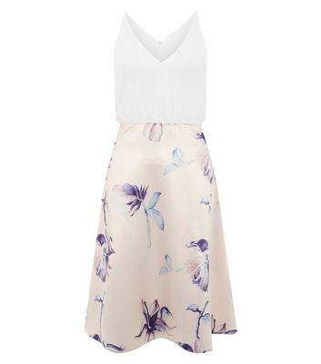 AX Paris Shell Pink Floral Print Skater Dress New Look