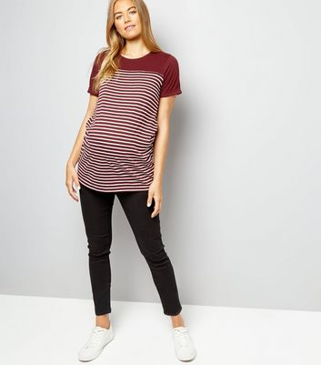 Maternity Burgundy Stripe Longline T-Shirt New Look