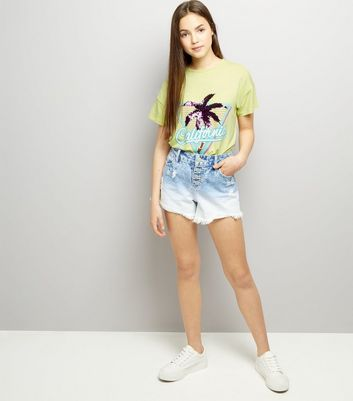 Teens Yellow Sequin Palm Tree T-Shirt New Look