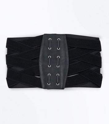 Black Elasticated Waist Corset Belt New Look