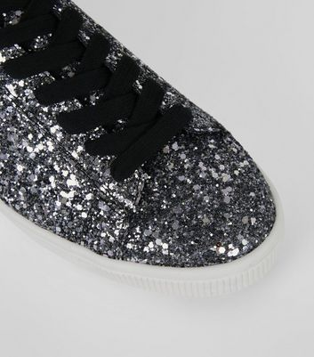 Black Glitter Lace Up Trainers New Look