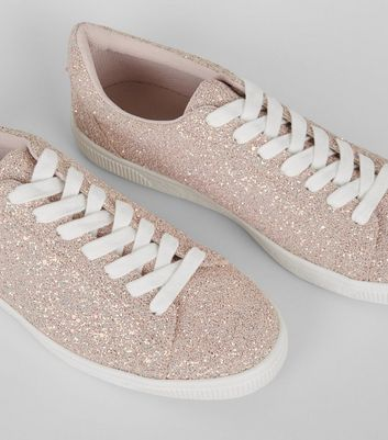 Pink Glitter Lace Up Trainers New Look