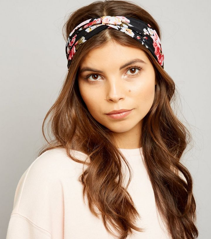 e0619919c39 Black Floral Print Mesh Twist Front Headband Add to Saved Items Remove from  Saved Items